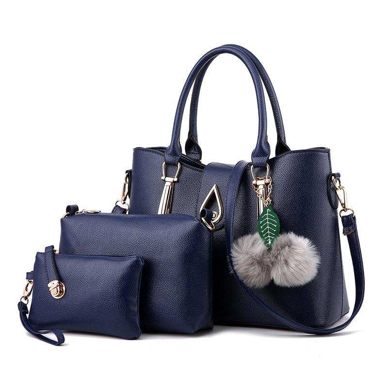 Luxury Women Leather Composite Bags Designer Hairball Handbags Bolsos Ladies Sac a Main Casual Tote Water Droplets Shoulder Bag Сумка