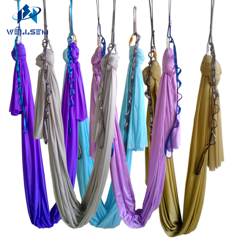 20 couleurs au choix 5m / ensembles Aérienne Volant Anti-gravité Yoga Hamac Swing Yoga body building workout fitness equipment affranchie