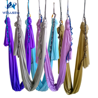 20 colors choice 5m/sets Aerial Flying Anti gravity Yoga Hammock Swing Yoga body building workout fitness equipment freedrop