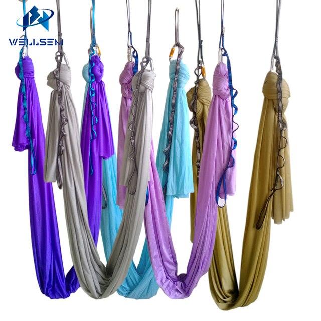 20 kleuren keuze 5 m/sets Antenne Vliegende Anti gravity Yoga Hangmat Swing Yoga body building workout fitness apparatuur freedrop