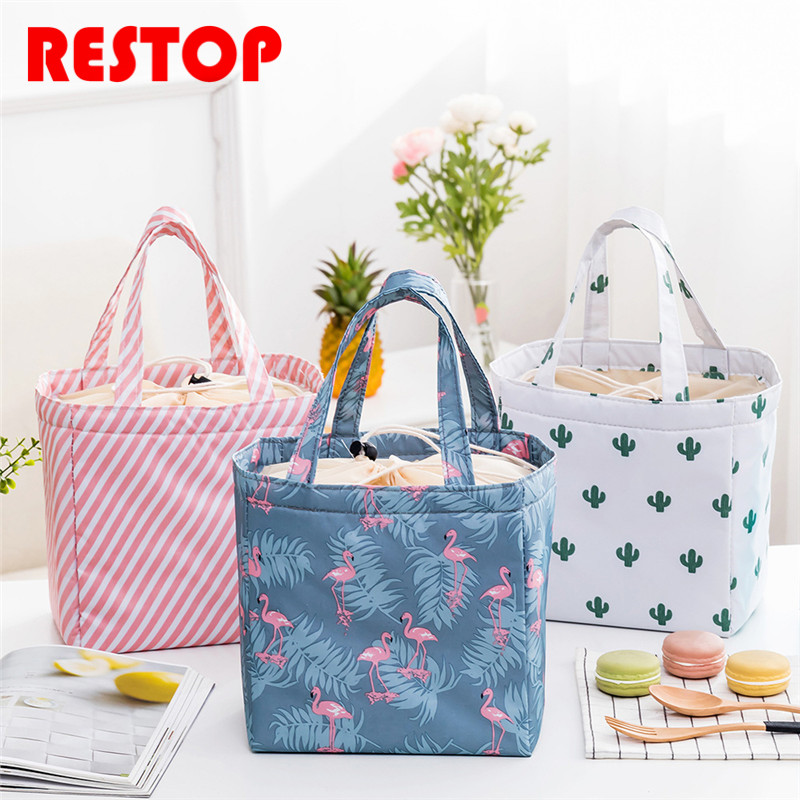 2018 Beam Port Waterproof Oxford Lunch Bag Thermal Food Picnic Lunch Bags for Women kids Men Cooler Lunch Box Bag Tote RES1006