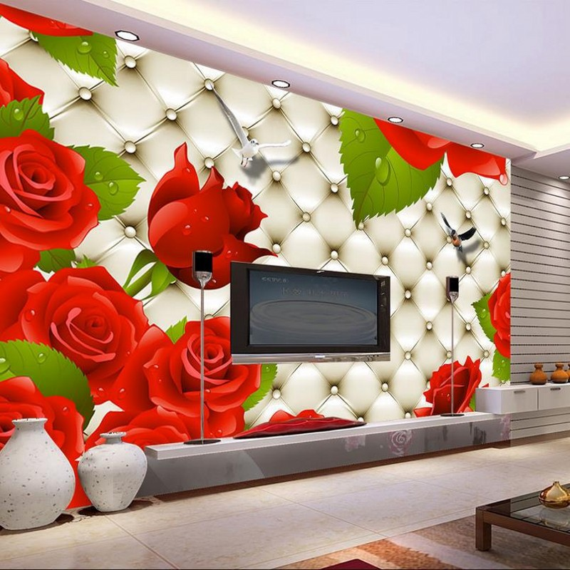 beibehang Custom wallpaper 3d stereoscopic flower murals TV backdrop living room bedroom soft papel de parede photo wall paper beibehang papel de parede 3d dimensional relief korean garden flower bedroom wallpaper shop for living room backdrop wall paper
