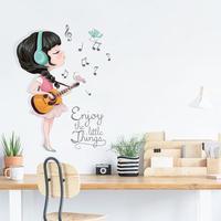 Красивая музыкальная наклейка для девочек на гитаре, 3d украшение для детской комнаты, Kawaii, декор для спальни для маленьких девочек, настенны...