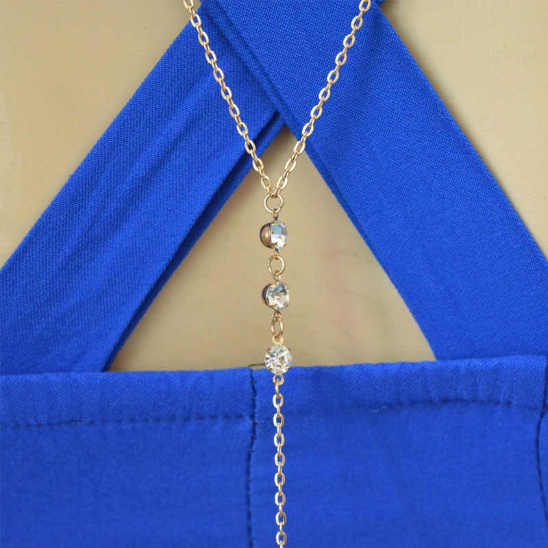 Women Boho Beach Bikini Bib Crossover Multilayer Crystal Backdrop Wedding Summer Dress Backdrop Back Body Chain Necklace Jewelry