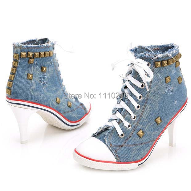 ФОТО new arrival canvas high heeled casual shoes vintage rivets hollow high top ankle strap boots denim lace up single shoes pumps