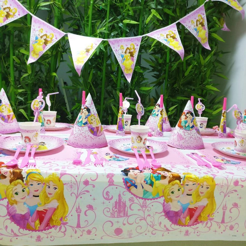 78pcs/set DISNEY Princess Ariel Snow Queen Cartoon Baby Birthday Party Decorations Kids Girl Party Supplies Party Tableware Set