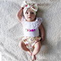Девочка одежда лето 2016 новорожденных новорожденных девочек одежда Без Рукавов белые кружева Футболка + шорты печатных оголовье 3 шт. набор младенческой
