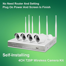 Buy 4 720P camera 1 NVR wireless camera kit connect to NVR direct not need Router plug and play