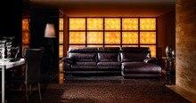 8258 del precio de fábrica de calidad de grano superior del cuero genuino de lujo grand sofás chaise tumbona sofá de la sala