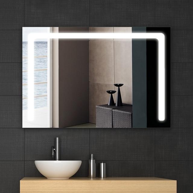 Bath mirror frame led illuminated framed bath mirror for Mirror 90 x 90