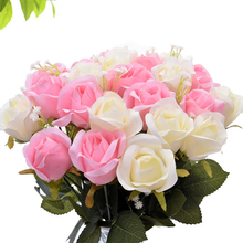 10 Branch/lot High quality Artificial flowers Rose Vivid artificiales Fake Silk Wedding home decorative