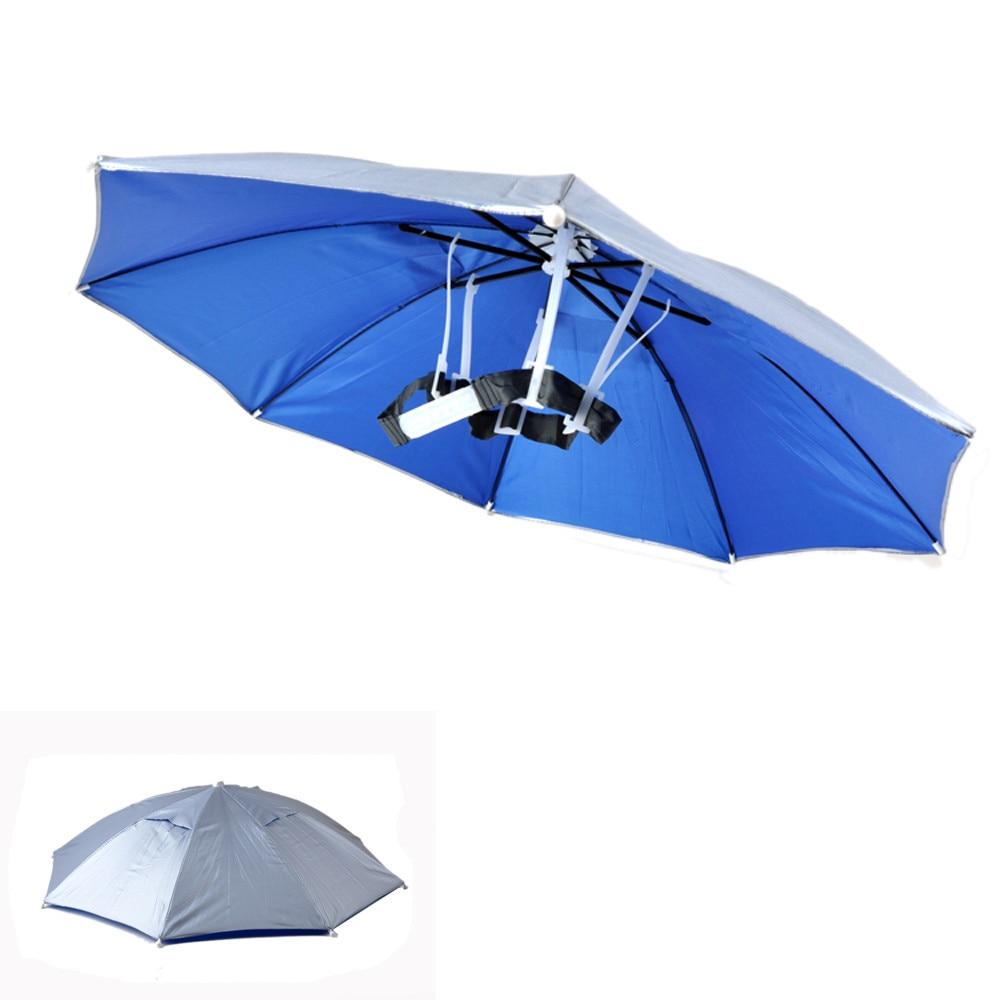 High quality Practical adjustable Headband Outdoor Sport Fishing Foldable Umbrella Hat Cap Rain sun UV protection Portable comfy