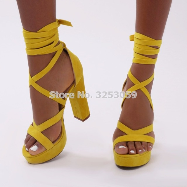 ALMUDENA Top Quality Yellow Suede Platform Chunky Heels Gladiator Sandals  Lace-up Cross Strappy Banquet Shoes Nightclub Pumps