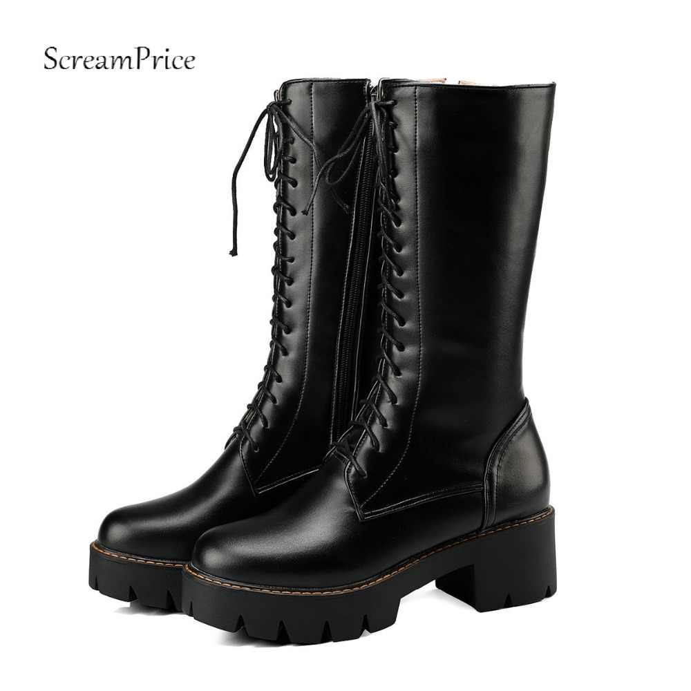 2018 Women Lace Up  Boots Thick Heel Knee High Boots Fashion Platform Side Zipper Winter Woman Shoes Black White Brown