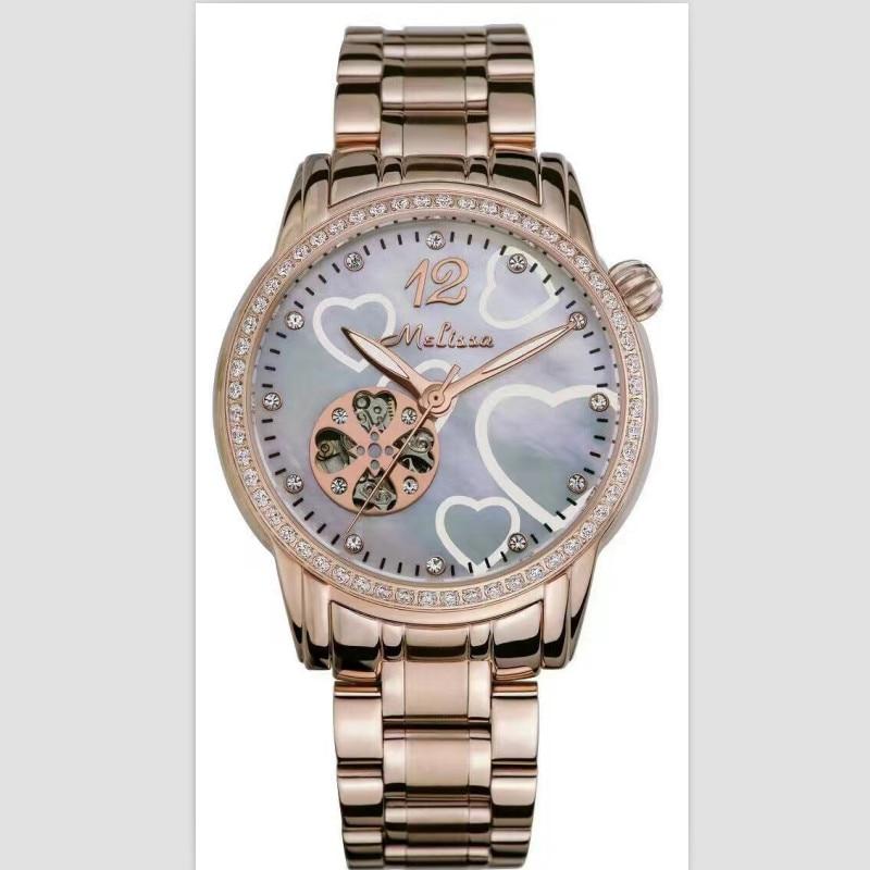 Melissa Brand Women Automatic Self-winding Watches Mechanical Hollow Love Watch Heart-shape Full Steel Wrist watch Analog Montre цена и фото