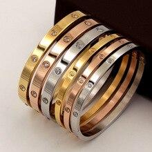 Красивые браслеты для влюбленных женщин браслеты из нержавеющей стали браслеты и браслеты с кубическим цирконием Золотые женские ювелирные изделия подарки