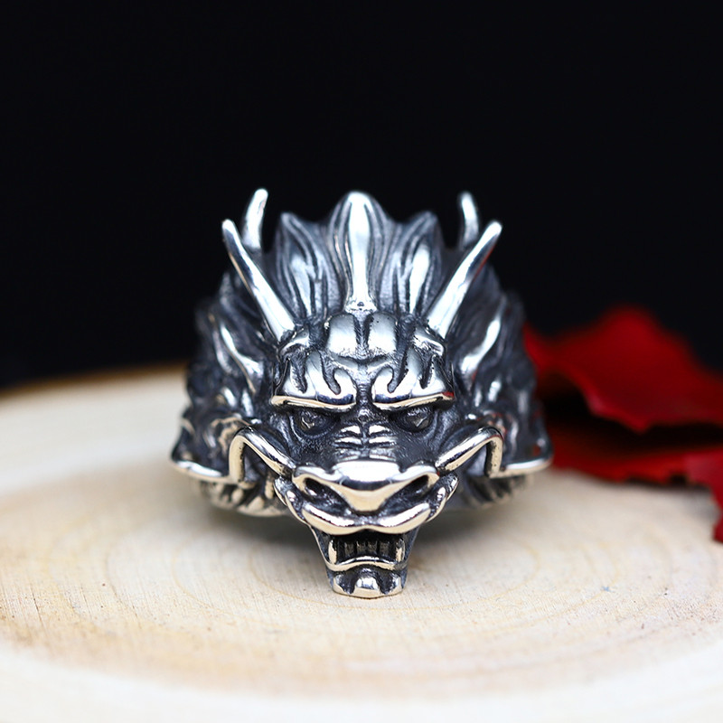 Gothic China Dragon Head Rings For Men In 100% Real 925 Sterling Silver Vintage Cool Thai Silver Mens Jewelry Heavy Chunky Rings gothic dragon