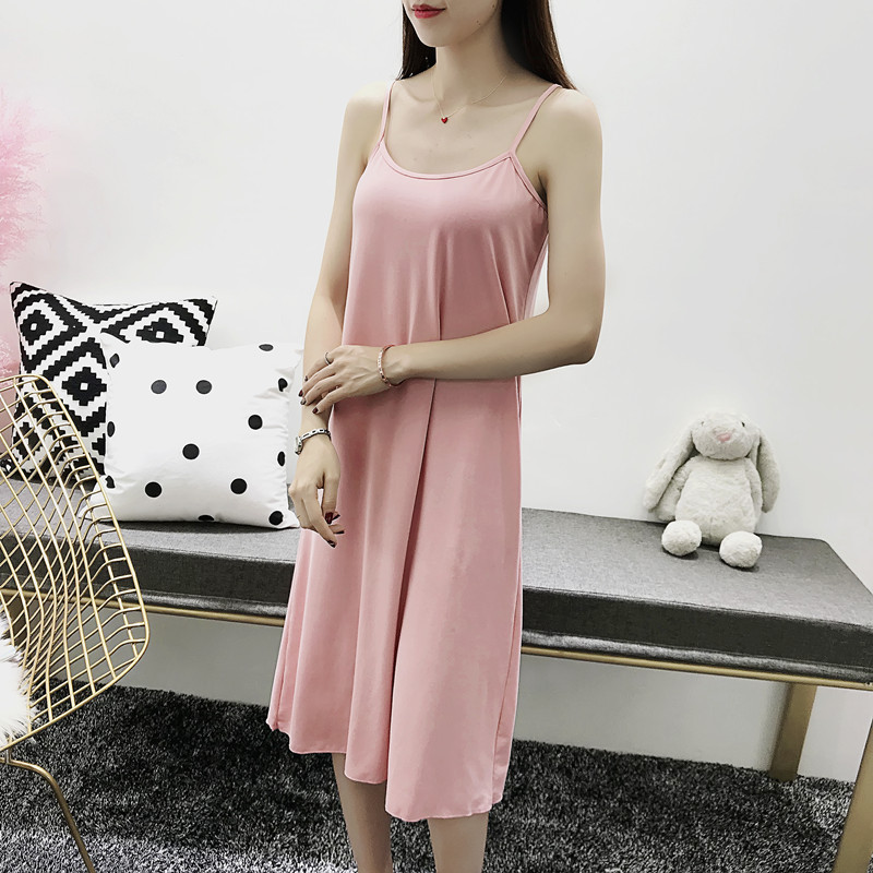 2019 Summer Women Cotton   Nightgowns     Sleepshirts   Nightshirts Sleepwear Sexy Spaghetti Strap Nightdress Sleeveless Nightwear