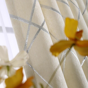 Image 4 - Blackout Jacquard Fabric for Curtains for the Living room Custom Size Ivory Grey Tan American Style the Curtains On the Window
