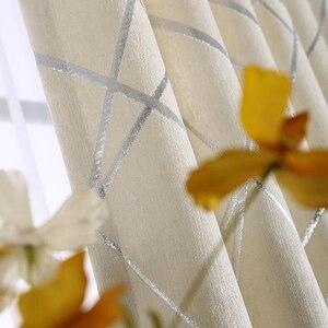 Image 4 - Mất Điện Vải Dệt Hoa Cho Chăn Màn Cho Phòng Khách Tùy Chỉnh Kích Thước Ngà Xám Tân Phong Cách Màn Cửa Trên cửa Sổ