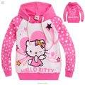 2015 новая Коллекция Весна Hello Kitty девушки одежда с длинным рукавом дети Толстовки и Кофты толстовки кофты Хлопка