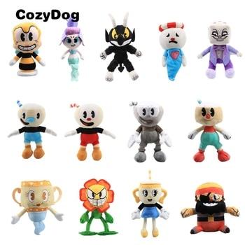 23 ~ 27 Cm Ukuran Besar Permainan Cuphead Mainan Mewah Mugman Iblis Legendaris Piala Raja Dadu Boneka Mainan untuk anak-anak Berkualitas Tinggi