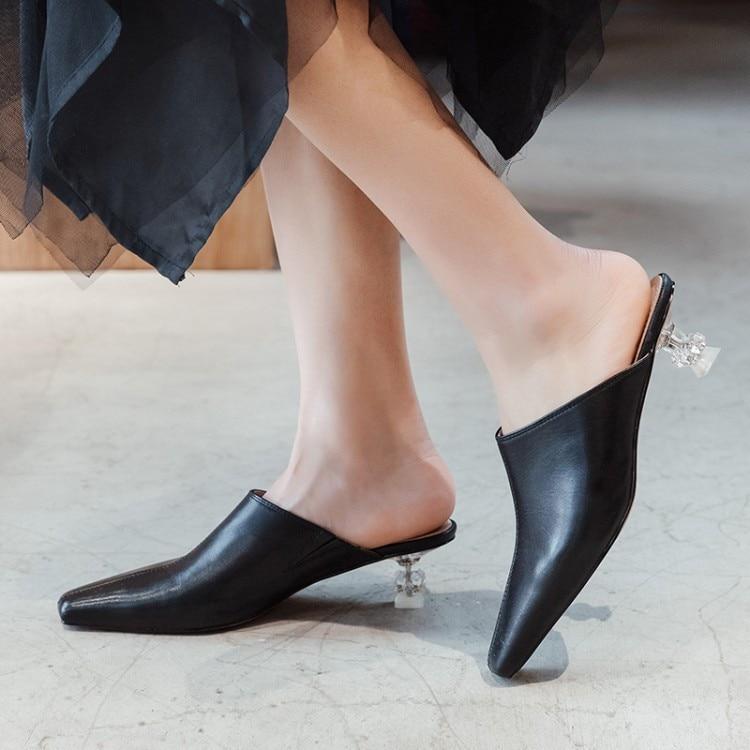 Date Partie L'extérieur Mules Véritable blanc Designer Mouton Chaussures Noir Cuir Talon Femmes De Réel D'été En Pantoufles Étrange Peau Cristal Diapositives Pxelena pUOTABp