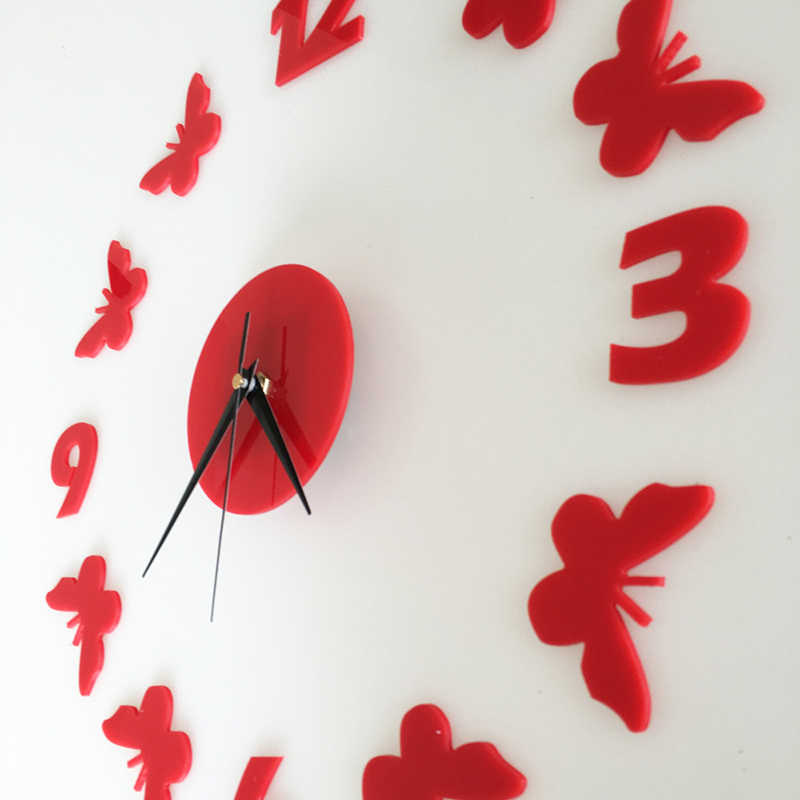Wasserdicht Schmetterling Wanduhr Dekorative Wand Aufkleber DIY Acryl Wanduhren Studie schlafzimmer Wohnkultur Weihnachten Geschenke