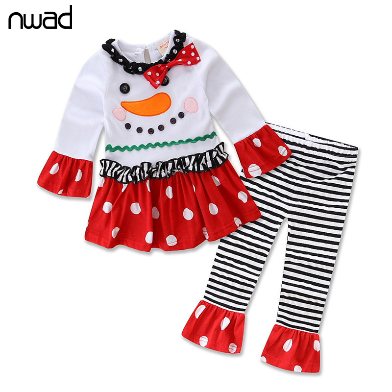 NWAD New Spring Autumn Baby Girl Clothes Fashion Christmas Snowman Clothing Set For Newborn Baby Polka And Striped Outfits FF176