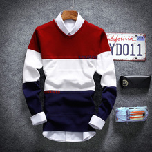 2017 Spring Fall Men Casual Sweater, Fashion Young Boy Color Stitching V-neck Sweater ,European Style Men's Slim Thin Sweater