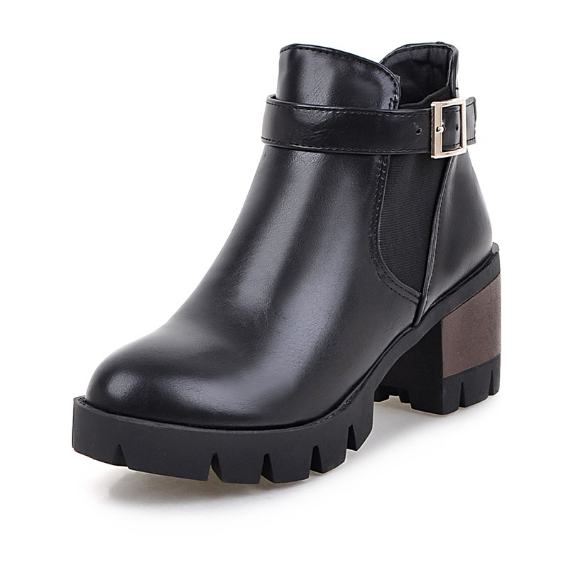 ФОТО Fashion Elastic Band Women Ankle Boots Brand Square Med Heels Shoes Woman Four Colors Rubber Winter Autumn Buckle Boots XD617