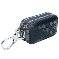 Shengwell Genuine Leather Car Key Holder Housekeeper Woven Key Bag Double Zipper Square Home Key Case With Transparent Window