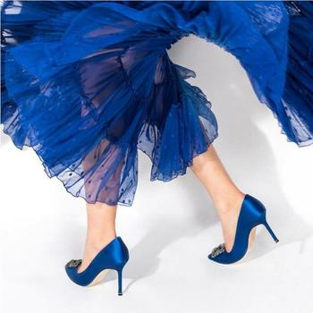 Sexy Women High Heels Pointed Toe Pumps Chic Ladies Wedding Shoes Crystal Embellished Blue White Satin Sapato Feminino