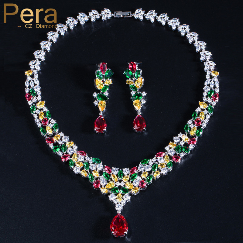 Pera High Quality Red Green Yellow Crystal Stone Pave Big Flower Shape Drop Necklace Earring Set For Bridal Wedding Jewelry J028