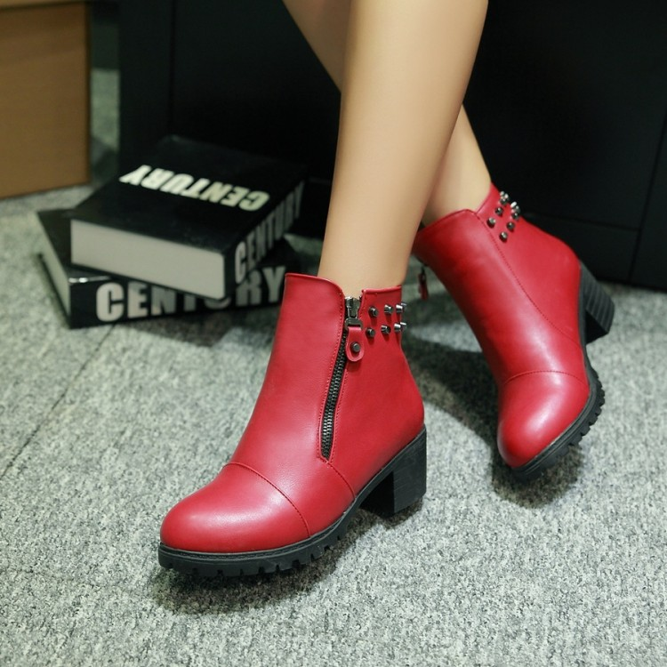 ФОТО New arrival 2016 coarse low-heeled plus size 40 41 42 43 female boots shoes boots female shoes free shipping