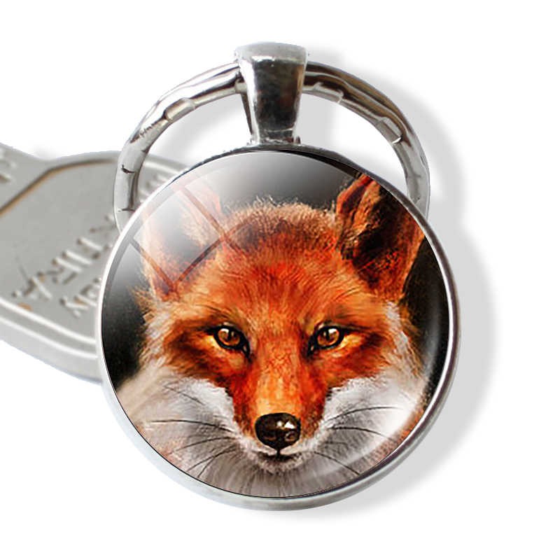 Fox Glass Cabochon Keychain Lovely Fox Pendant Handmade Silver Plated Metal Keychain for Daughter Christmas Gifts