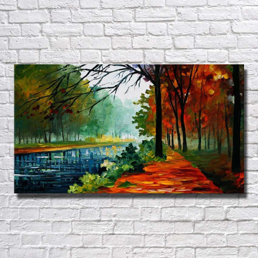 Us 12 25 30 Off New Design Living Room Wall Pictures Natural Scenery Canvas Painting Home Decoration Wall Art Knife Painting No Framed In Painting