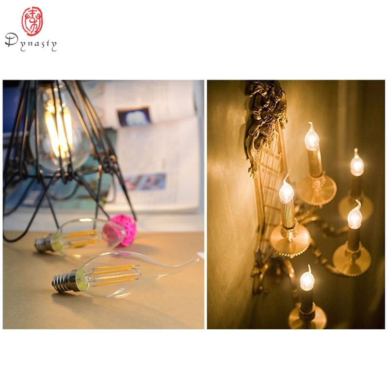 Купить с кэшбэком Dynasty LED Filament Bulb Antique Pendant lights Edison Candle Bulbs E14 85-265V Hanging Lights Table Lamp Retro Wall Lamp Bulbs