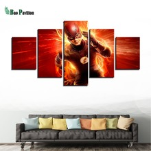 Canvas Painting Poster Home Decor Modular Picture 5 Panel Movie Flash Barry Allen HD Framework Wall Art Prints For Living Room