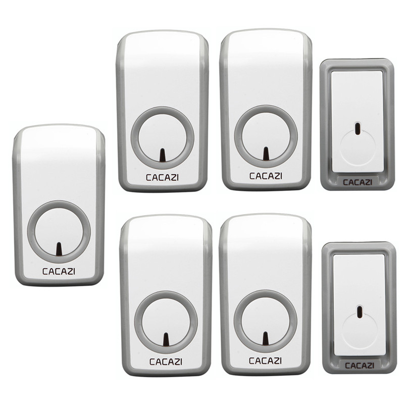 CACAZI wireless doorbell 2 waterproof buttons+5 AC 110-220V plug-in receivers door bell 48 chimes 6 volume adjustable door ring 2 dx in door