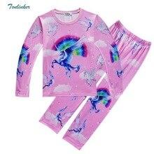Unicorn Moana Costumes Girls Boys Pyjama Sets Nightwear Sleepwear Bathrobe Cartoon Long Sleeve Teen Kid Child T Skirt Clothes