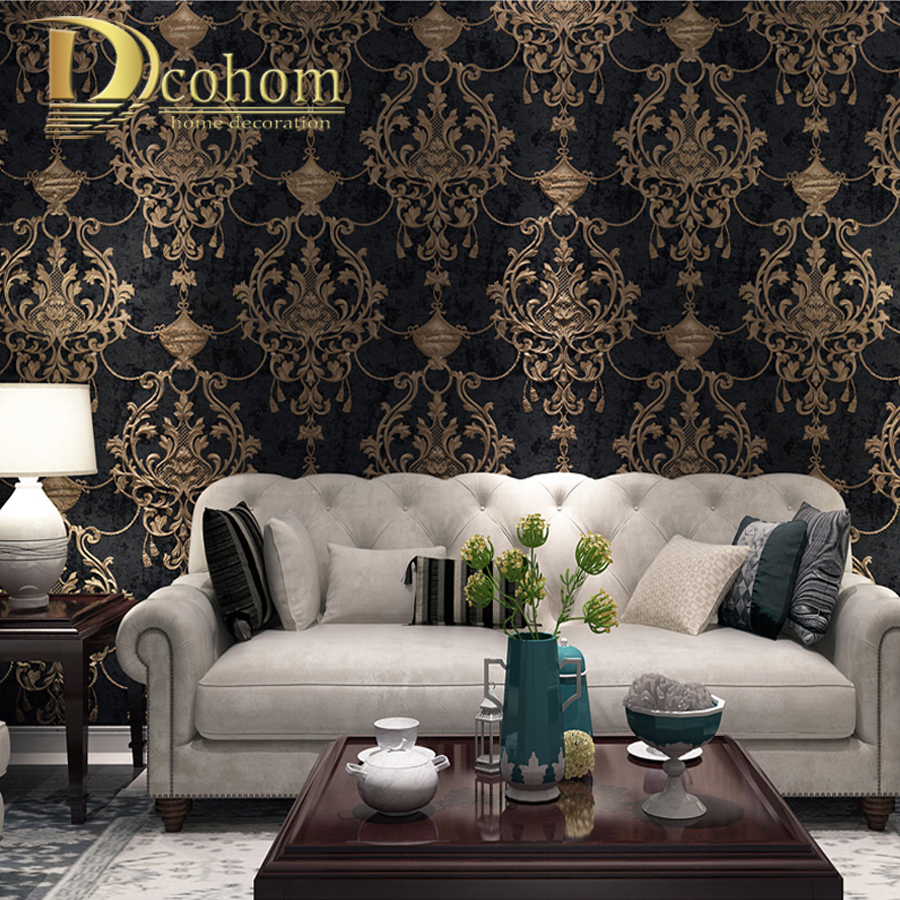 European Style Damask Wallpaper For Walls 3 D Embossed Luxury Wall Paper Rolls For Bedroom Living Room Sofa TV Background Decor
