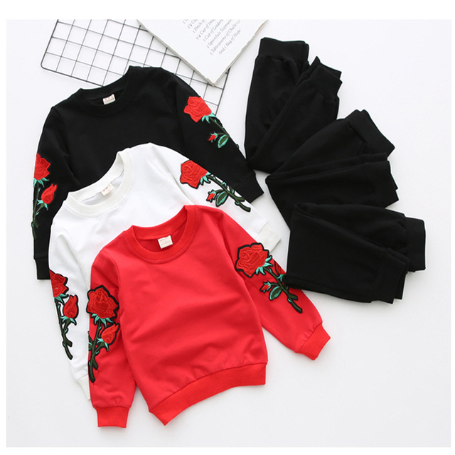 Girls Clothing Sets Baby Girl Roses Floral Embroidery Clothes Sets Spring Kids Long-sleeve Sport Wear 2pcs Children Sport Suits