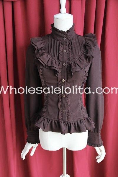 Изготовленная на заказ блузка женская синяя хлопковая с большим галстуком-бабочкой Длинные рукава Лолита Блузка Лолита рубашка Готическая блузка