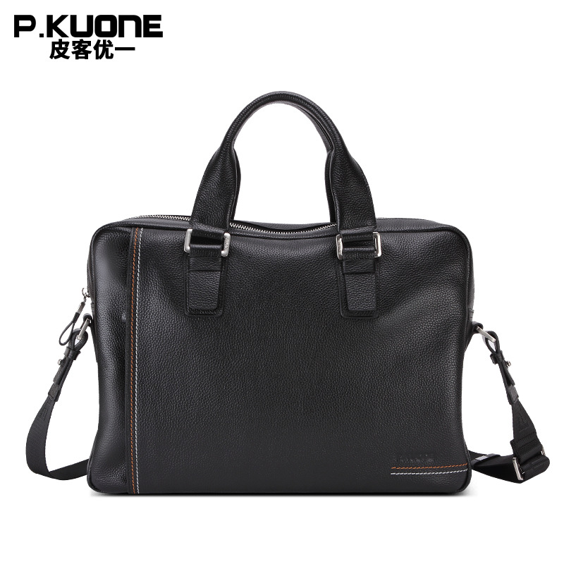 "Здесь продается  P.Kuone NEW Designer Natural Genuine Leather Business Briefcase 14"" Laptop Bag Full Grain Leather Men Shoulder messenger bags  Камера и Сумки"