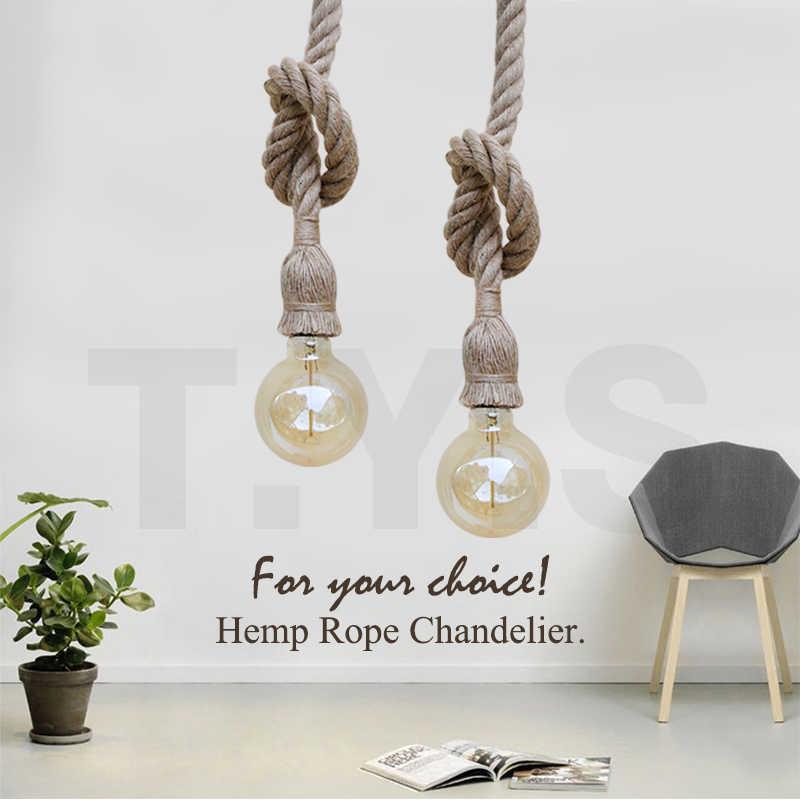 Ретро винтажная пеньковая веревка подвесной светильник для лофта творческой личности подвесной светильник Промышленный светильник Эдисона лампа стиль освещения