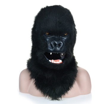 Black Gorilla Animal Mask with Mouth Mover