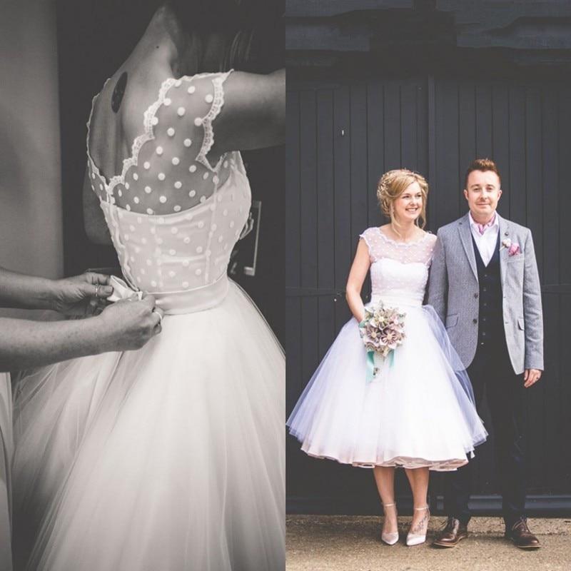 Hot Sale A Line Short Wedding Dresses 2017 Scoop Cap Sleeve Mid Calf
