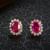 100% 925 Joyas de Plata Set de Novia Rosa Color Oro con Corindón Rojo Pendientes + Anillos + Pendiente de Lujo Joyería de La boda