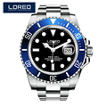 LOREO Germany watches men luxury automatic self-wind luminous waterproof 200M oyster perpetual diver relogio masculino 116619LB